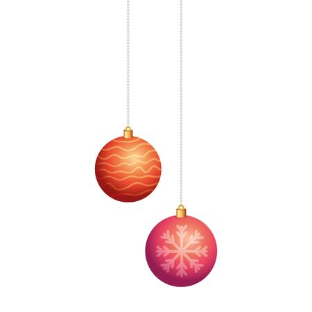 set of balls christmas hanging isolated icon vector illustration design