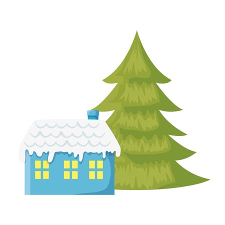 house with snow and pine tree christmas isolated icon vector illustration design 向量圖像