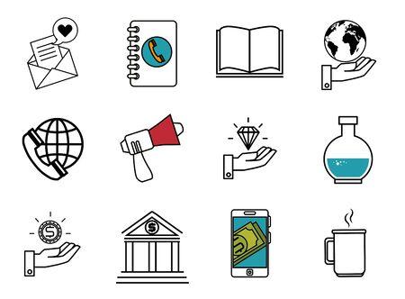 bundle of business set icons vector illustration design 向量圖像
