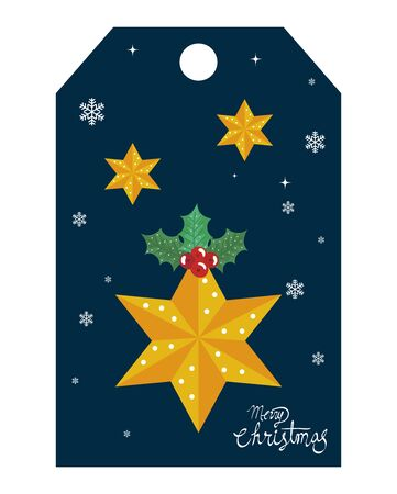 merry christmas label with stars and snowflakes vector illustration design