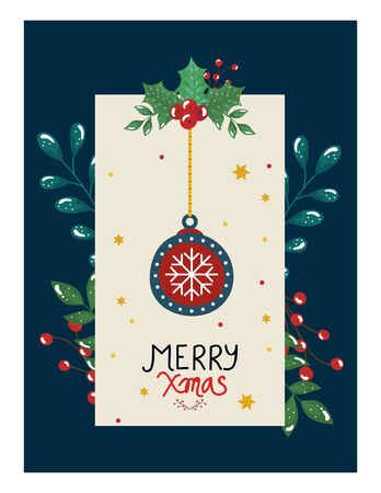 merry christmas poster with ball hanging and leafs decorative vector illustration design