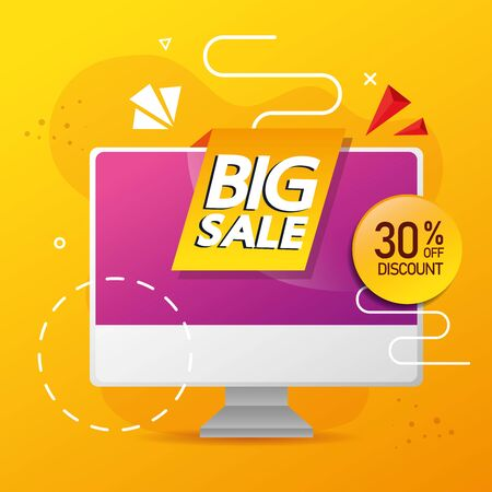 commercial label with big sale lettering in computer and thirty percent discount vector illustration design