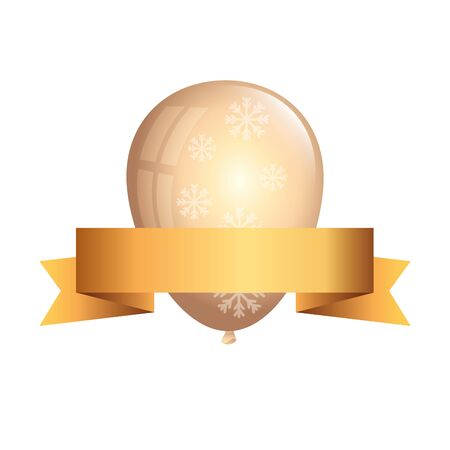 balloon helium golden with snowflakes and ribbon vector illustration design  イラスト・ベクター素材