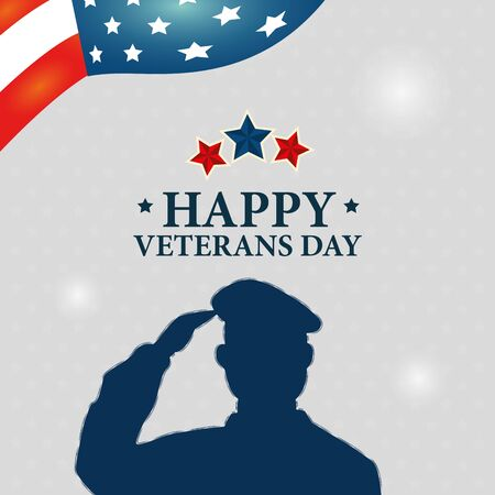 veterans day celebration with silhouette military and stars vector illustration design
