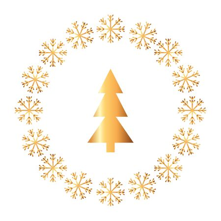 pine tree christmas in frame circular of snowflakes vector illustration design
