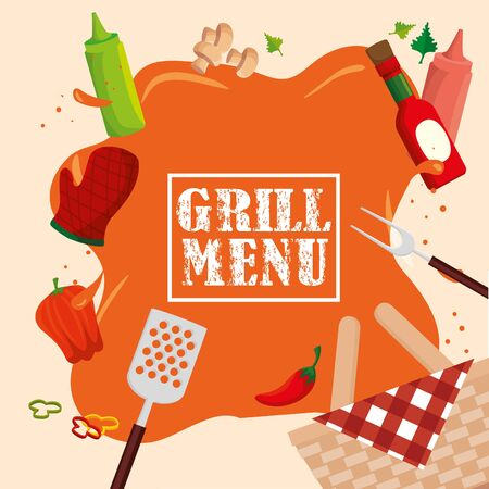 grill menu with fresh vegetables vector illustration design