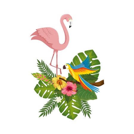 flamingo pink with parrot with flowers and leafs vector illustration design Ilustracja