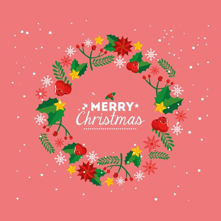 merry christmas poster with crown of decoration vector illustration design