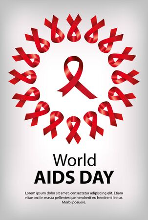 poster of world aids day and ribbons with circular frame vector illustration design Ilustracja