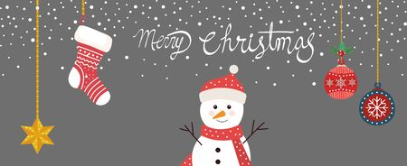 merry christmas poster with snowman and decoration hanging vector illustration design