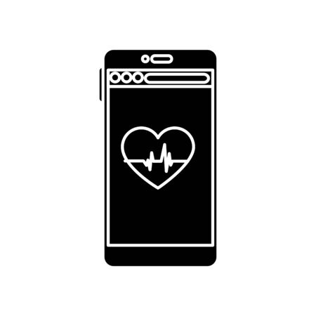 Heart rate and smartphone design, Healthy lifestyle gym fitness bodybuilding bodycare activity exercise and diet theme Vector illustration