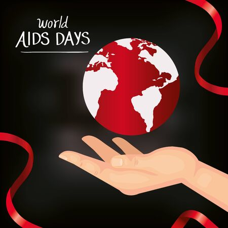poster of world aids day with hand and planet earth vector illustration design