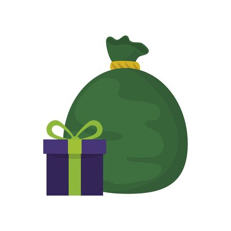 bag with gift box presents isolated icon vector illustration design Ilustracja