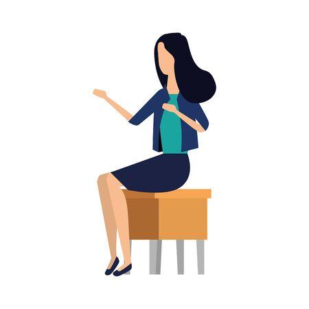 elegant businesswoman seated in bench vector illustration design Stockfoto - 134879563