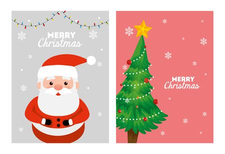 set merry christmas poster with santa claus and pine tree vector illustration design Ilustração