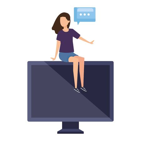 woman seated in desktop with speech bubble vector illustration design 版權商用圖片 - 134881447
