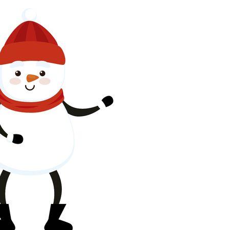 merry christmas cute snowman character vector illustration design