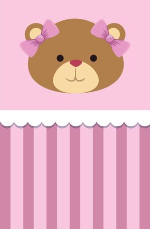 postcard with bear teddy female and bows vector illustration design Foto de archivo - 134882031