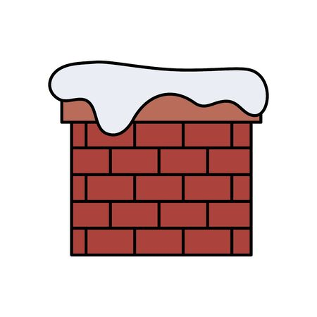 chimney with snow isolated icon vector illustration design 向量圖像