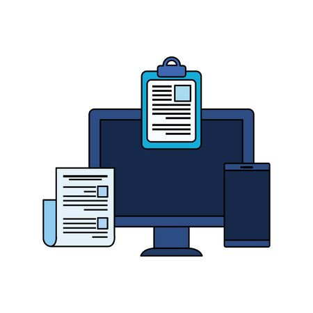 desktop computer with checklist vector illustration design 写真素材 - 134882062