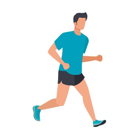 young athletic man running character vector illustration design