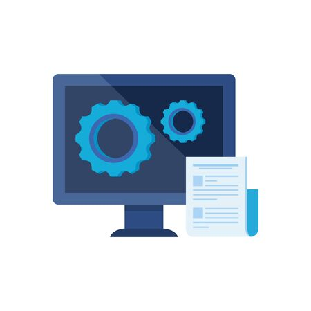 desktop computer with gears settings vector illustration design  イラスト・ベクター素材