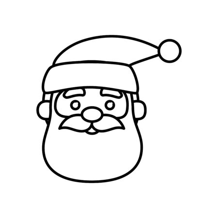 head santa claus character of merry christmas line style icon vector illustration design
