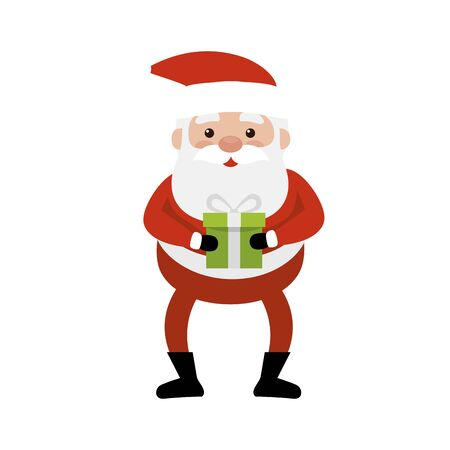 merry christmas santa claus with gift box vector illustration design