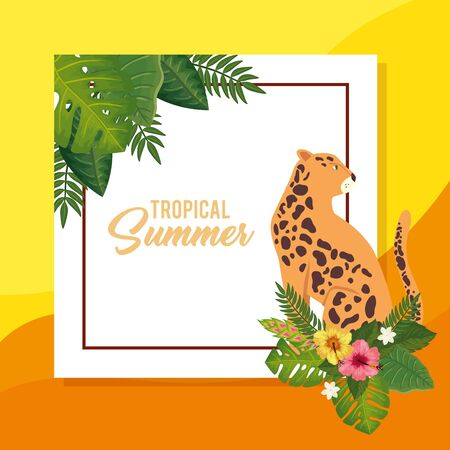tropical summer poster with leopard and leafs vector illustration design