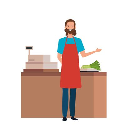 seller man design, shop store market shopping commerce retail buy and paying theme Vector illustration