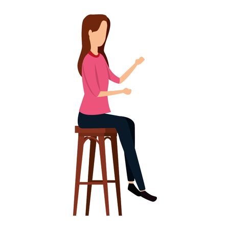 elegant businesswoman seated in bench vector illustration design Stockfoto - 134888999