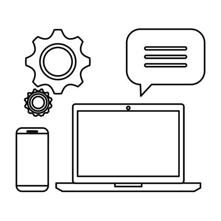 laptop computer with smartphone and gears vector illustration design