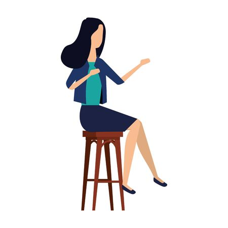 elegant businesswoman seated in bench vector illustration design