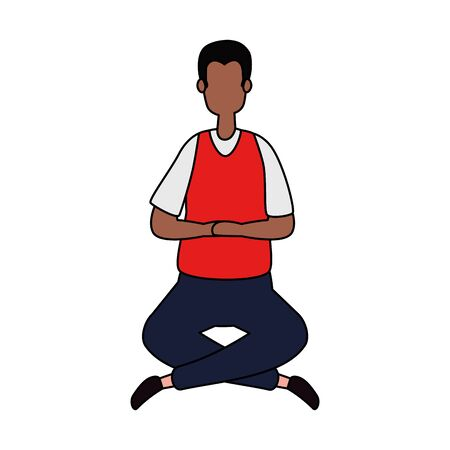 afro businessman seated in lotus position vector illustration design