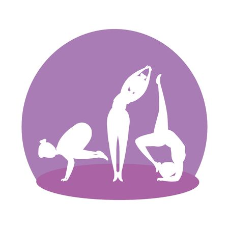 silhouette of girls group practicing pilates vector illustration design Ilustracja