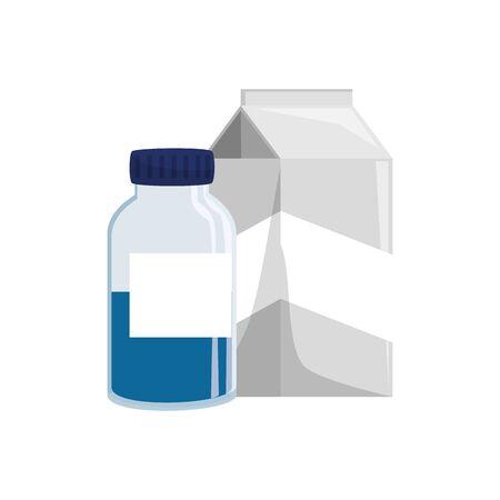 Diseño de tarro de vitamina y caja de leche, estilo de vida saludable, fitness, culturismo, actividad de cuidado corporal, ejercicio y tema de dieta, ilustración vectorial