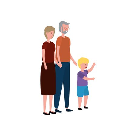 cute grandparents couple with grandson vector illustration design