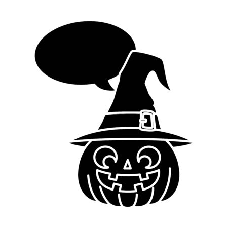 halloween pumpkin with hat witch and speech bubble vector illustration design Zdjęcie Seryjne - 134902744