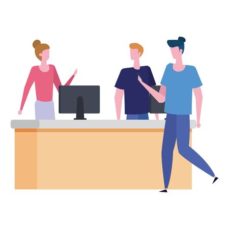 couple working in desk with computers and man customer vector illustration