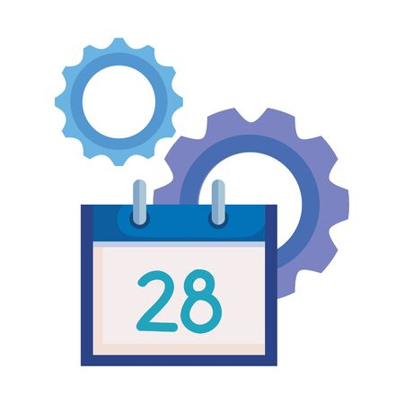 social media marketing with calendar and icons vector illustration design