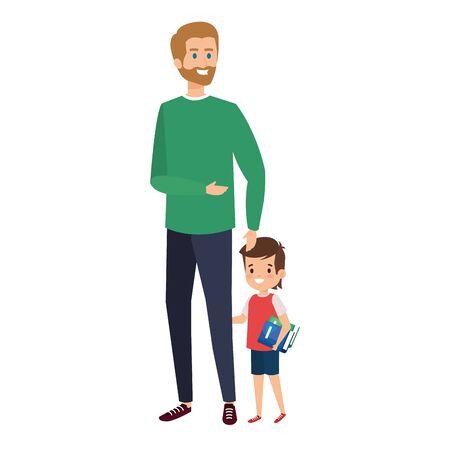 happy student boy with male teacher vector illustration design