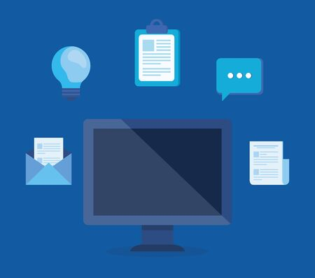 computer technology with documents information and chat bubble over blue background, vector illustration Illustration