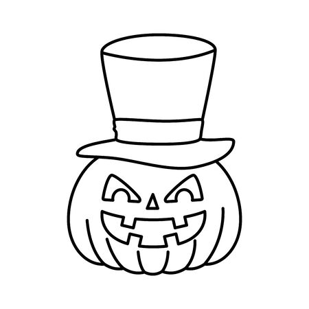 halloween pumpkin with hat wizard vector illustration design