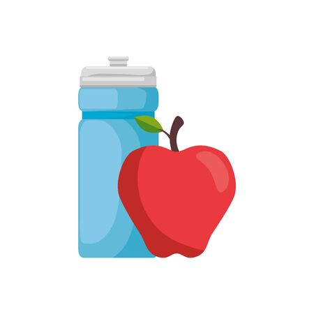 Water bottle and apple design, Healthy lifestyle gym fitness bodybuilding bodycare activity exercise and diet theme Vector illustration