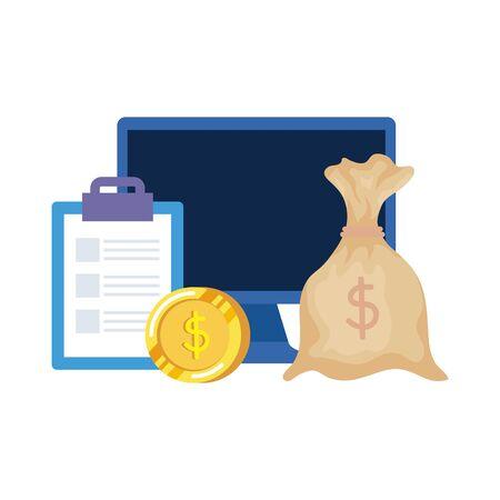 coins money dollars with desktop and checklist vector illustration design