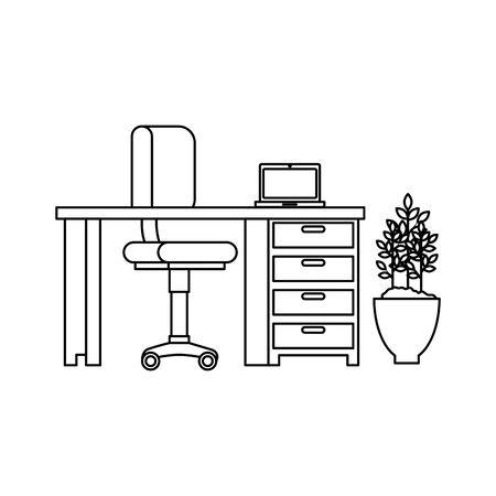 office work place scene with laptop vector illustration design Ilustracja