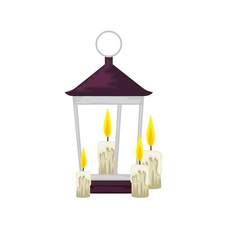 lantern light hanging with candles vector illustration design