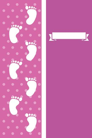 postcard with baby footprints decorative icons vector illustration design