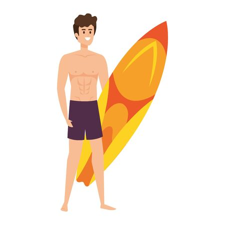 young man with swimsuit and surfboard vector illustration design Reklamní fotografie - 134898250