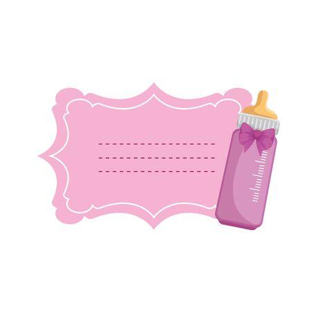 baby shower card with milk bottle vector illustration design